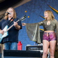 Grace Potter performs with Warren Haynes of Gov't Mule during the 2016 New Orleans Jazz & Heritage Festival in New Orleans, Louisiana.
